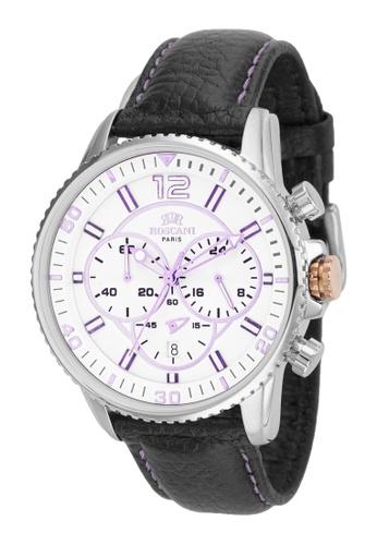Roscani 銀色 Roscani Cole 968 (計時碼錶 + 防水10ATM) 紫面不銹鋼 真皮錶帶 男表 26D55ACA8E9B82GS_1