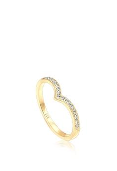 92738aaba500c9 Elli Germany gold Elli Germany Ring 925 Sterling Silver Gold-Plated V-Shape  Swarovski