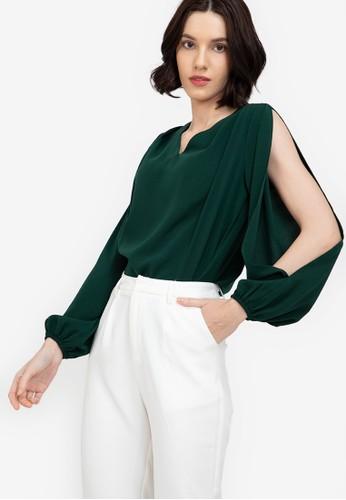 ZALORA WORK green V Neck Slit Sleeves Blouse 71835AA55B760EGS_1