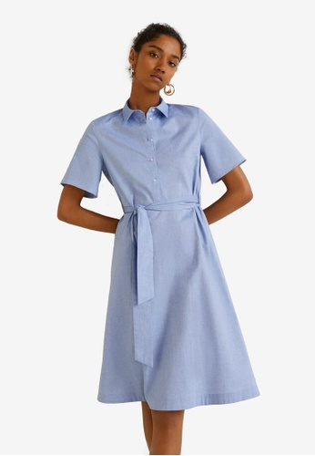 Mango blue Cotton Shirt Dress 74EB8AAF020050GS_1