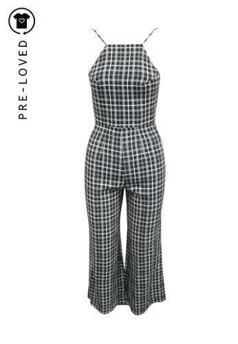 Reformation brown Pre-Loved reformation Blue Checked Wide Leg Jumpsuit 499B3AA7949822GS_1