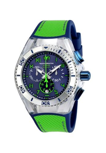 TECHNOMARINE green and blue Technomarine Cruise Men 46.65mm Case Blue, Lime Green Silicone, Canvas Strap Blue, Green Dial Quartz Watch TM-115011 TE359AC0F5C6SG_1