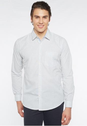Août white and yellow Août Singapore - Mens Long Sleeved Easy Care Mini Checkered Cotton Shirt - Bella 809AAAA8C6955CGS_1