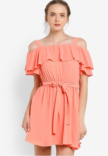 Miss Selfridge pink and orange Ruffle Cold Shoulder Dress MI665AA83EAQMY_1