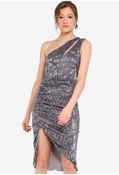 e8a789e007f Lavish Alice grey Pleated Sequin One Shoulder Cut Out Ruched Side Midi Dress  B6244AAFB3F905GS 1