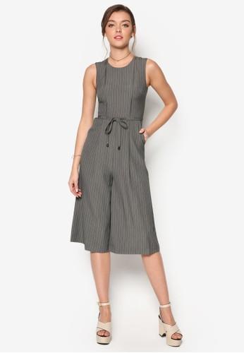 條紋繫帶寬管連身esprit 香港褲, 服飾, 服飾
