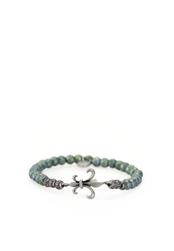 Gnome and Bow grey and brown and green Fleur-de-lis Bracelet FAABCAC924131CGS_1