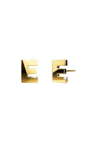 Bullion Gold gold BULLION GOLD Dainty Alphabet Letter Earring Gold Layered Steel Jewellery - E 48E41AC66F6138GS_1