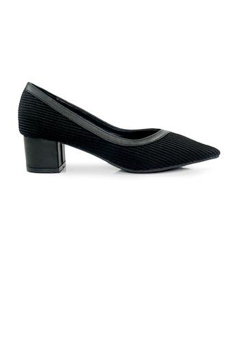 SHINE black SHINE Corduroy Point Block Heels 6403CSH02FC15DGS_1