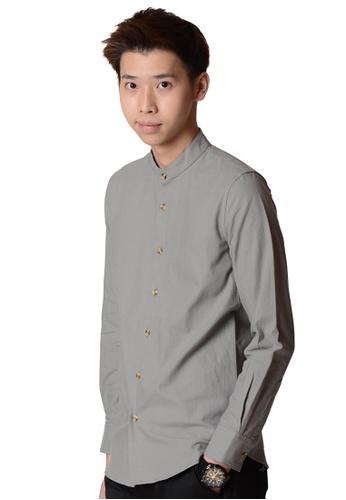 Praise grey Long Sleeves Shirt 48BD0AA3A3CD29GS_1