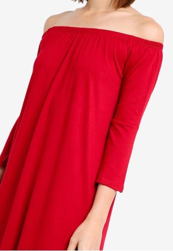 c3c997204f83 Shop ZALORA BASICS Essential Loose Off Shoulder Dress With Flared Sleeve  Online on ZALORA Philippines