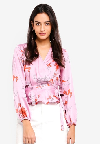 TOPSHOP pink Satin Wrap Blouse 971DCAA9783738GS_1