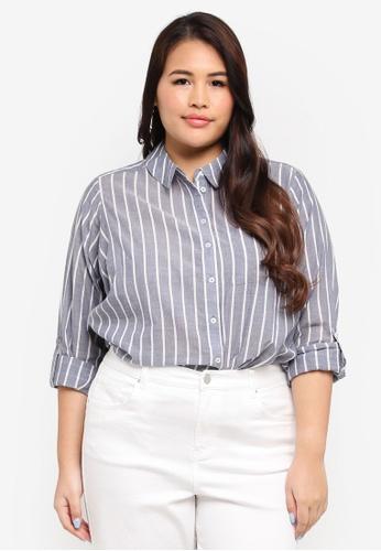 Dorothy Perkins blue Plus Size Stripe Shirt 5751FAA994F3F7GS_1