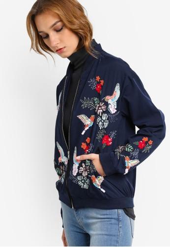 刺zalora退貨繡花卉棒球外套, 服飾, 外套