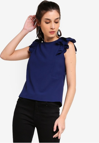 ZALORA 海軍藍色 Ruffles Shoulder Details Top 57E1EAA335D85AGS_1