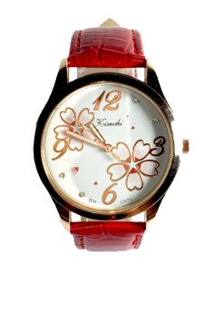 Kimchi Red Floral Leather Strap Watch
