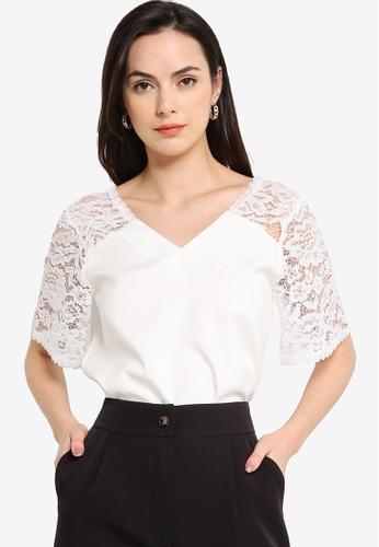 ZALORA WORK white Lace Panel Short Sleeves Top 7F914AA029EB1DGS_1