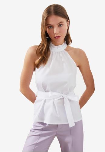 Trendyol white Waist Tie Detail Halter Top 6D5EDAAE1F4EE1GS_1