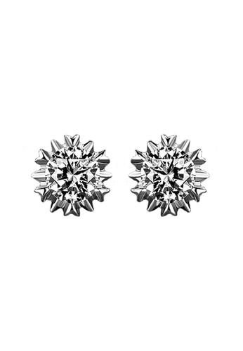 Elfi silver Elfi 925 Sterling Silver Diamond Prong Earring SE57 EL186AC0RWR2MY_1