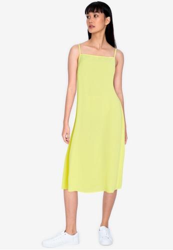 ZALORA BASICS yellow Low Back Column Dress E0EA1AA513FE9DGS_1