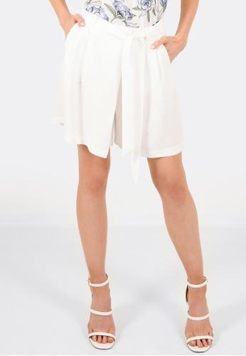 FORCAST white Annalise Tie Waist Shorts FO347AA0GLNISG_1