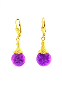 WLE063 Women's Gold Plated Flip Lock Earrings with Agate Cubic Zirconia