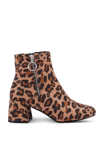ONLY brown and beige Bimba Leo Heeled Zip Boots 6BDDESHF82ADB6GS_1