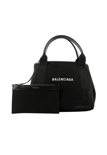BALENCIAGA black Balenciaga Navy Cabas S Tote Bag in Black F14E4ACB46B0C2GS_1