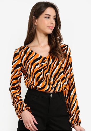 LC Waikiki 橘色 Long-袖 Zebra-Patterned 上衣 E86BBAACB501BAGS_1