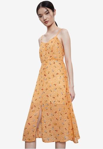 Urban Revivo 橘色 花卉無袖洋裝 B415AAA49B01DFGS_1