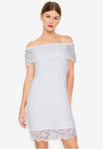 Twenteen white Off The Shoulder Scallop Layer Hem Lacey Dress 8C475AAC687C3CGS_1