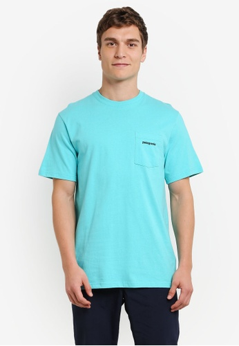 Patagonia blue P-6 Logo Cotton Pocket T-Shirt PA549AA0RQDHMY_1