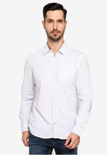 BLEND white Textured Slim Fit Shirt 27B61AAC0FFB77GS_1