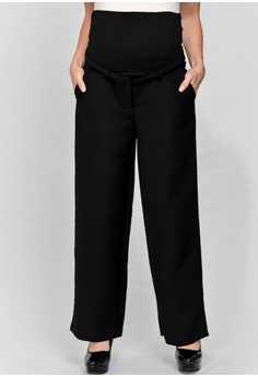 aba5129368037 9months Maternity black Black Full Panel Wide Leg Maternity Pants  A6889AA603454CGS_1