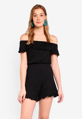 Miss Selfridge black Jersey Bardot Playsuit Black 932D4AAD28CB4CGS_1
