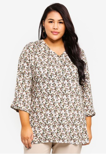 Ex'otico white Plus Size 3/4 Sleeve Printed Long Blouse A8882AACC153C4GS_1