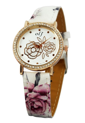 World of Watches white and gold OLJ Rose White Leather Strap Watch B1637 WO566AC40NBVPH_1