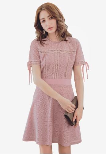 YOCO pink Lace Skater Dress 6FBB7AA67C3B3DGS_1