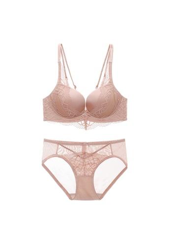 Midnight 粉紅色 Premium Lace Pink Lingerie Set (Bra and Underwear) 2B6BAUS9BCF2EAGS_1