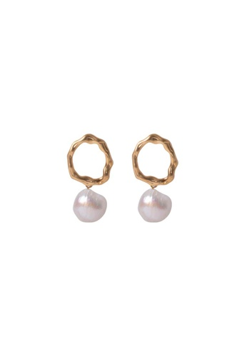 SKEDA gold Emily Pearl Drop Earrings DEB88ACC5C9FF3GS_1