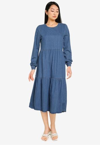 Noisy May blue Cille Long Sleeve Denim Dress F5ACEAA0C49322GS_1