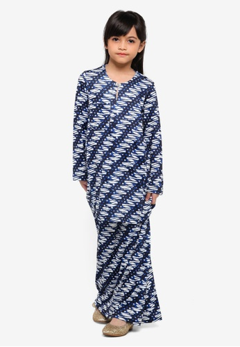Rizalman for Zalora white and blue Mahsuri Kids Baju Kurung 4C5C1KA9B8F12BGS_1