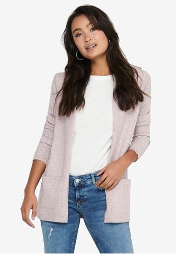 JACQUELINE DE YONG pink Brilliant Long Sleeves Hood Cardigan E4BC1AAB581542GS_1