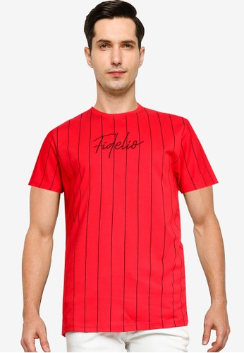 Fidelio red Vertical Lines Embroidery Tee 1783FAA619CCD7GS_1