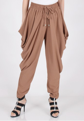 Meitavi's Drawstring Pleated Baggy Pants - Camel
