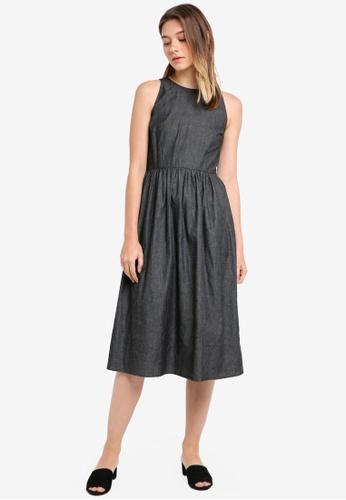 Something Borrowed black Cut In Sleeveless Midi Dress 3C8A8AA1BEF956GS_1
