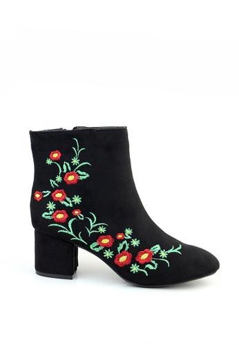 London Rag black Floral Design Ankle Boots D08C2SHEDECF00GS_1