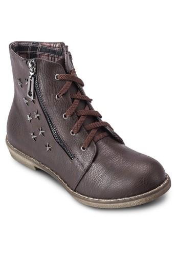 側拉鍊繫帶短靴, 女esprit outlet hong kong鞋, 鞋