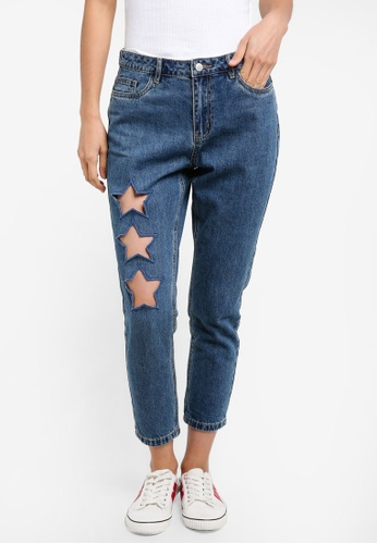 ONLY blue ONLY ONE Tonni Bf Star Ankle Jeans ON573AA0S45ZMY_1