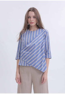 b750b7f97c4217 Stripe Wrap Top - Blue 13948AA8CC2635GS 1 DEMIRA ...